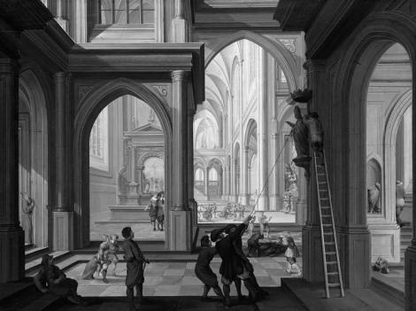 Iconoclastas en una iglesia, de Dirk Van Delen (1604-1605).
