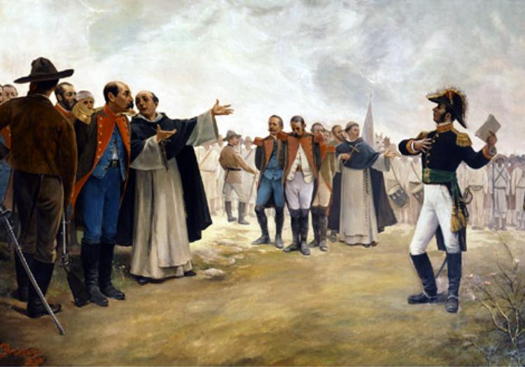 El general Bravo en la cabeza del pintor Pesado.