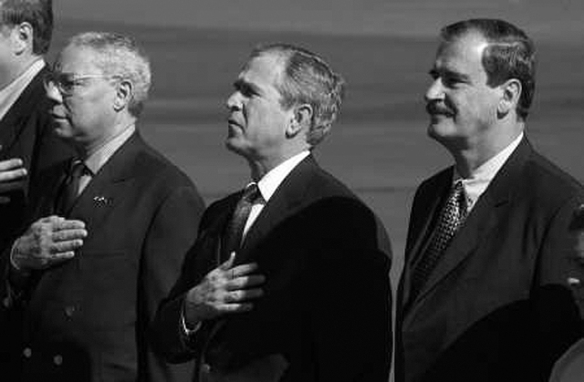 Collin Powell, George W. Bush y Vicente Fox, el 16 de febrero, 2001