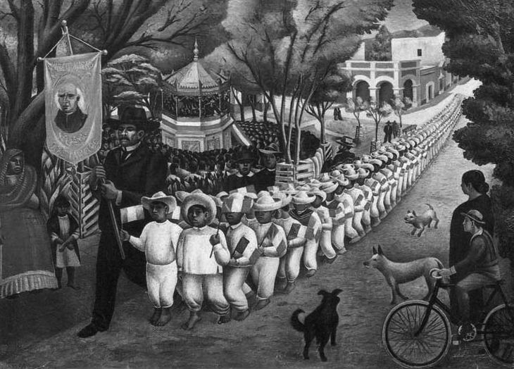 """Antonio Ruiz, """"Desfile cívico escolar, fiestas patrias"""" (1936)"""