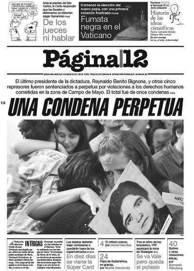 La portada de Página 12