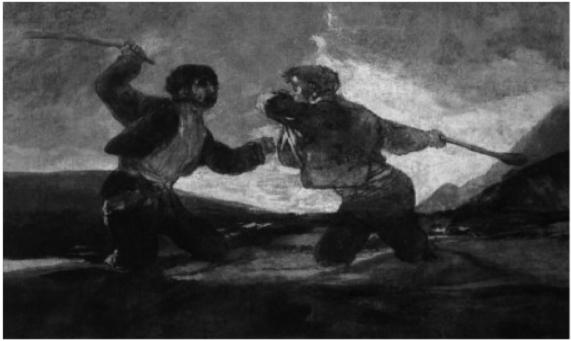"""Francisco de Goya, """"Duelo a  garrotazos."""" Museo del Prado."""