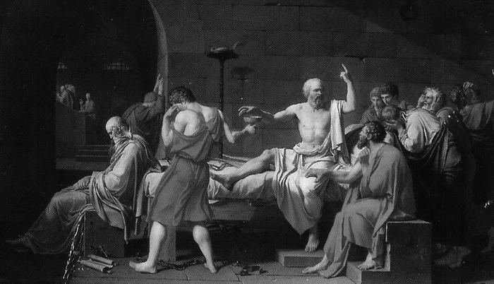 """Jacques-Louis David, """"La muerte de Sócrates"""" (1787). Museo Metropolitano de Arte, Nueva York."""