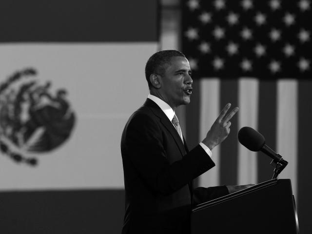 Barack Obama en el Museo Nacional de Antropología. (Foto: Pablo Martinez Monsivais.)