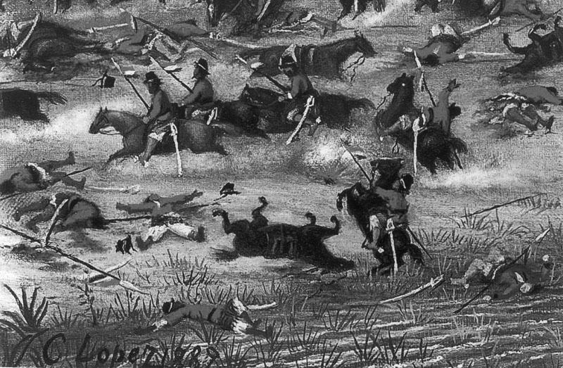 """Detalle de """"Rancho en que vivía el Dr. Lucio del Castillo en el campamento de Tuyutí"""", de Cándido López. Museo Enrique Udaondo, Luján (Argentina.)"""