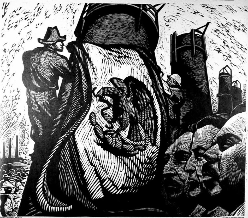 Evocaciones al espíritu del presidente Lázaro Cárdenas, lo que sea que eso signifique. Pablo O´Higgins, s.f., Taller de Gráfica Popular.