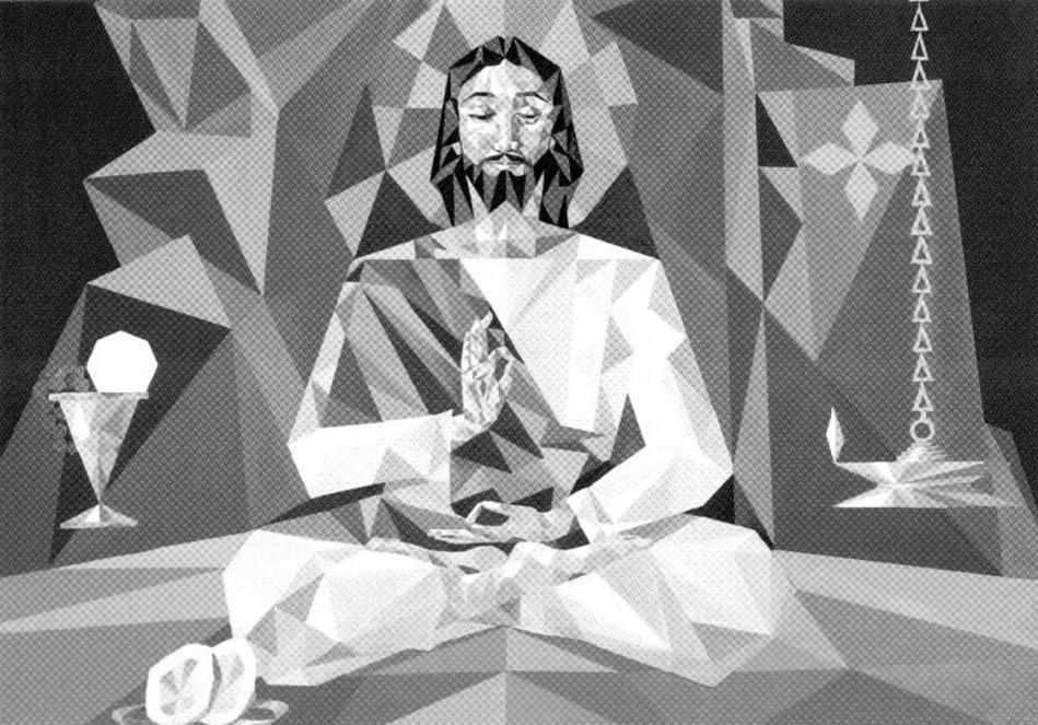 Cristo el guru. Óleo de M. P. Manoj.