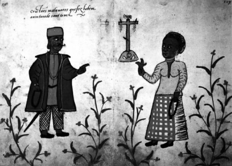 An early 16th-century depiction of Thomas Christians in Malabar(Reproduced in Geneviève Bouchon, Vasco da Gama. (Rio de Janeiro:  Editora Record, 1999).]