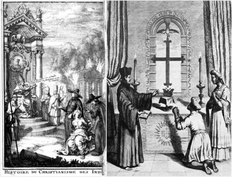 Two views of Portuguese-Thomas Christian relations in the 16th century.  On the right is the frontispiece of Marthurin Veyssière de Lacroze's Histoire de christianisme des Indes.  The illustration on the right is from Athanasius Kircher's China Illustratus