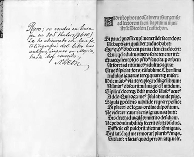 Posiblemente el primer libro impreso en Nueva España en diciembre de 1540.