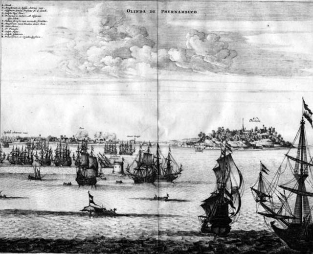 Olinda atacada por los holandeses (1630). Tomado del Atlas de John Ogilby.