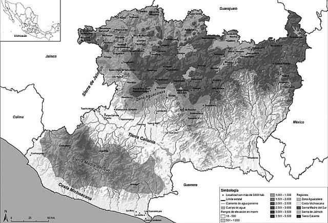 Mapa de las regiones de Michoacán (Fuente: www.scielo.org.mx.)