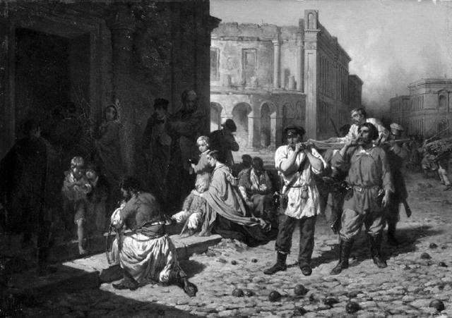 Durante el sitio de Sebastopol, de Konstantin Filippov (1858).