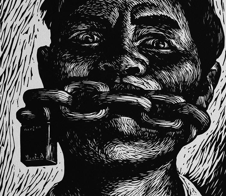 """Fragmento de """"Libertad de expresión"""", de Adolfo Mexiac."""