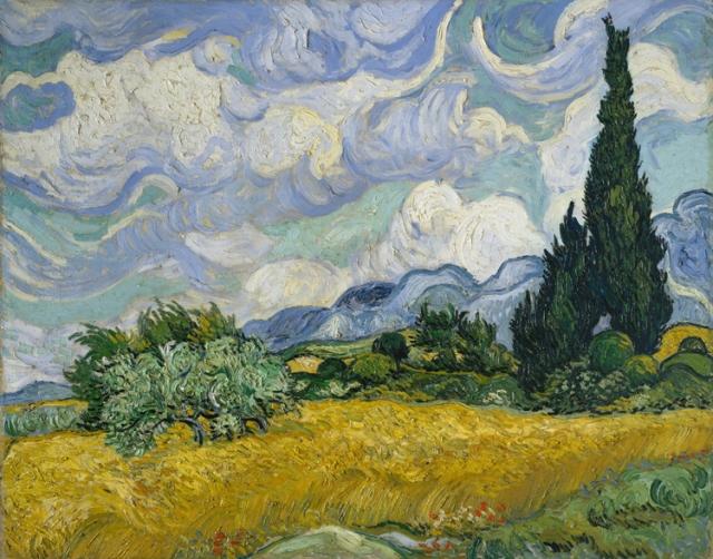 Vincent Van Gogh, Campo de trigo con cipreses. (Metropolitan Museum, Nueva York.)