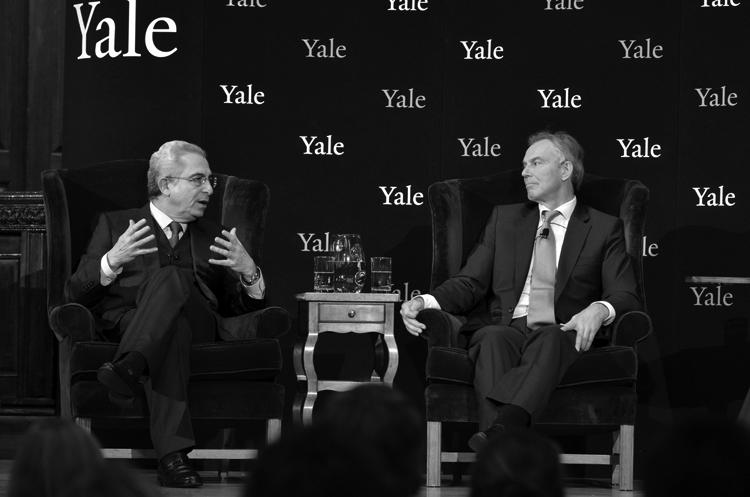 Ernesto Zedillo y Tony Blair, en Yale, el 4 de diciembre, 2012.