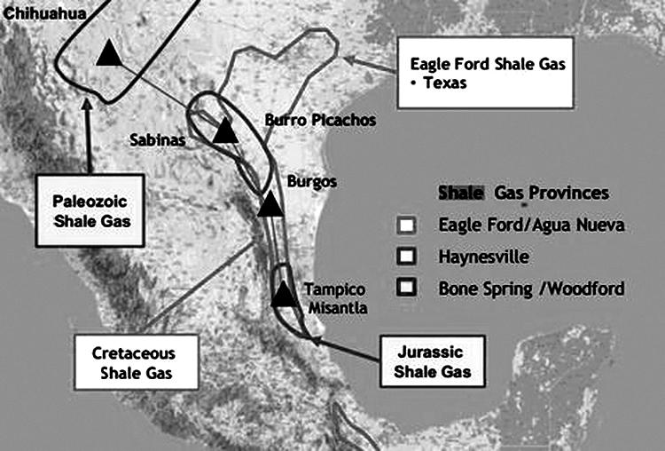 Geografía de la fracturación hidráulica. Mapa tomado de LAB.org)