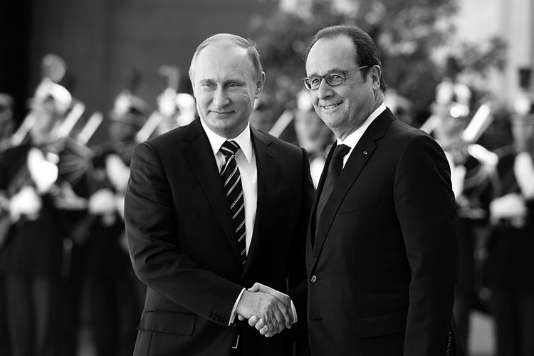 Los presidentes de Rusia y Francia, el 2 de octubre, 2015. (Foto: Alain Jocard.)