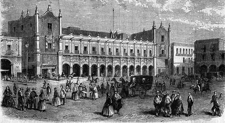 El ayuntamiento de México hacia 1862, según L'Ilustration