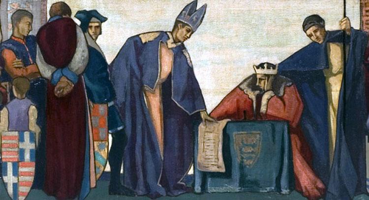 Fragmento de John Sealing the Magna Carta, 1215, de Frank Wood (1925). Sunderland Museums